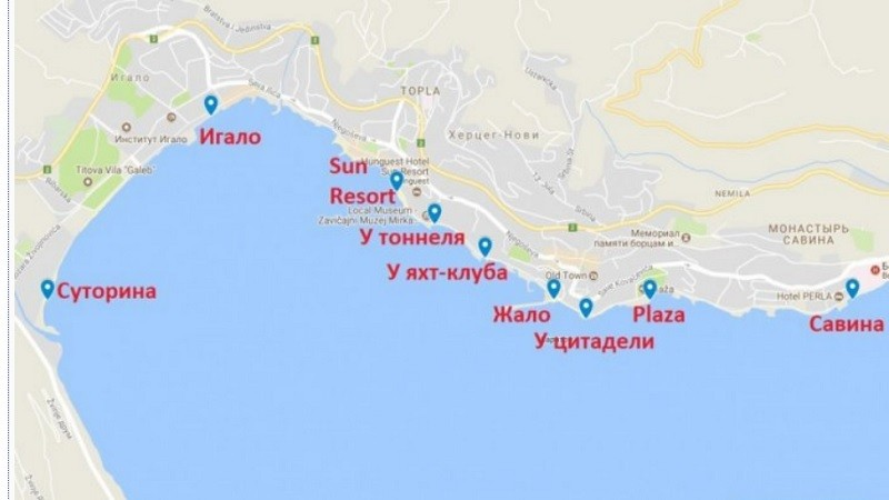 Карта пляжей Герцег-Нови