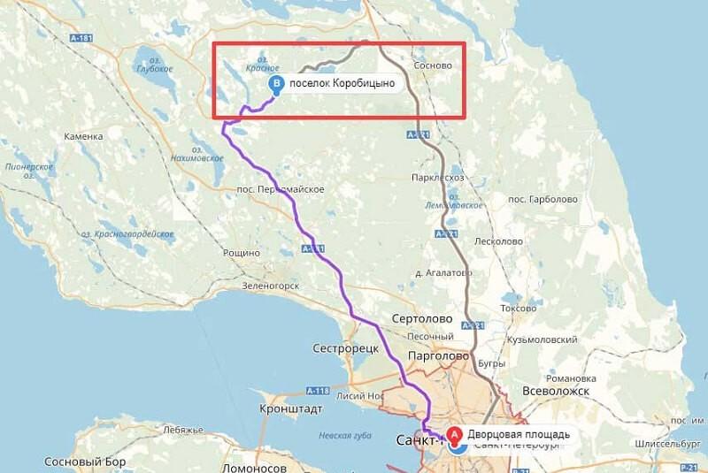 Карта проезда к Коробицыно