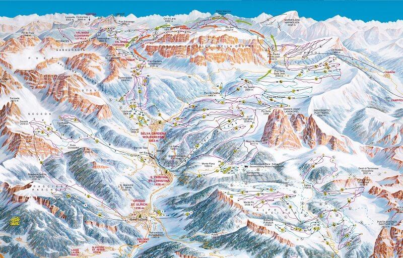 Схема трасс Ortisei