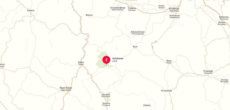 Карта проезда к Копаонике