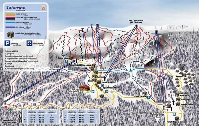 Карта  спусков Яхорина