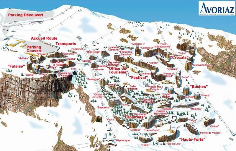 Карта спусков Авориаз