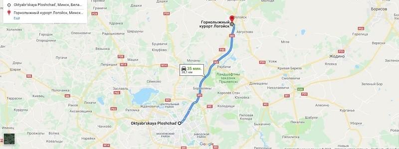 Карта проезда к базе Логойск
