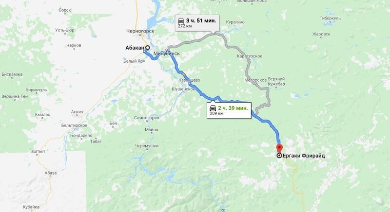 Карта проезда к Ергаки