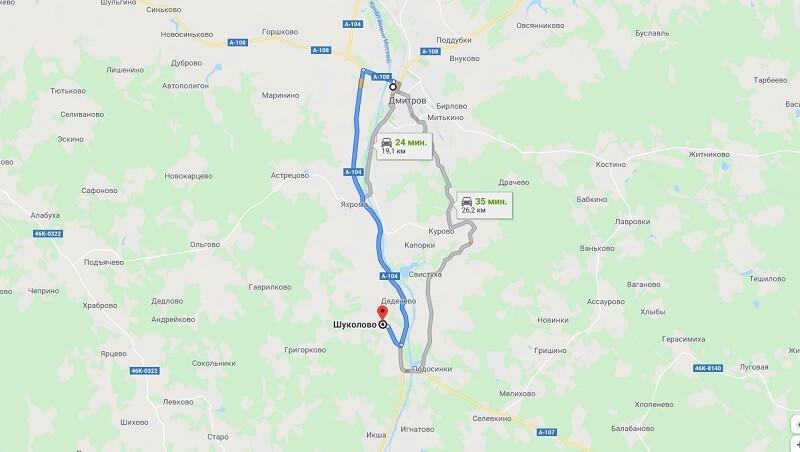 Карта проезда в Шуколово