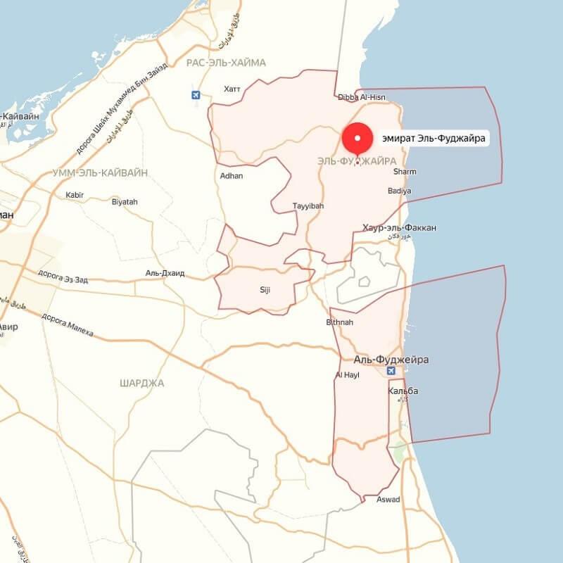 Расположение Фуджейры на карте ОАЭ