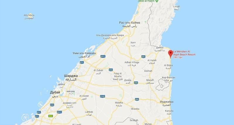 Расположение Ла Меридиан на карте ОАЭ