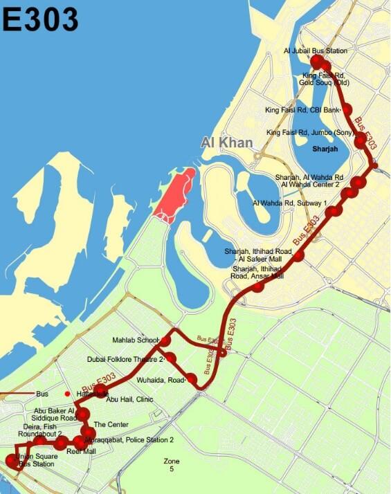 Схема проезда от  Шарджи до метро Дубай