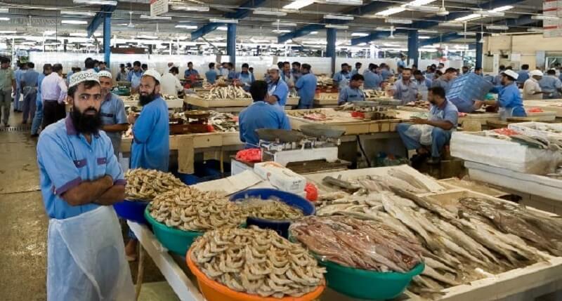 Ассортимент на рыбном рынке в Шардже