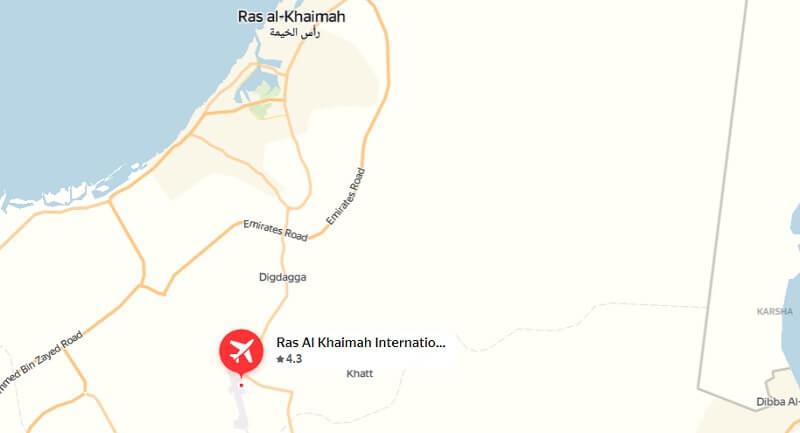 Аэропорт Рас аль-Хайма на карте ОАЭ