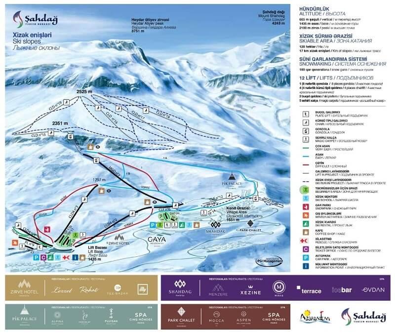 Карта спусков Шахдаг