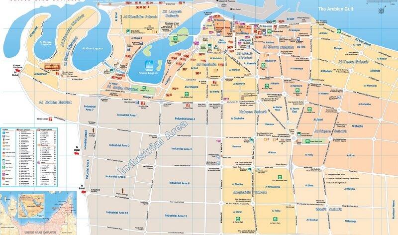 Карта эмирата Шарджа на русском языке