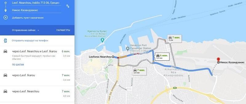 Карта проезда к аэропорту Ираклиона