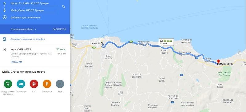 Карта проезда к Малья
