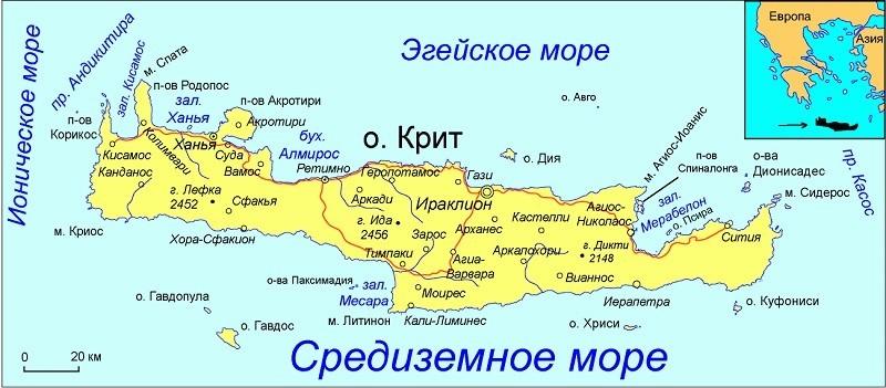 Крит на карте Греции