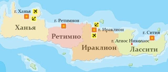 Карта курортов Крита